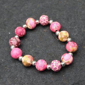 3F25 Pink Floral Bead Stretch Bracelet